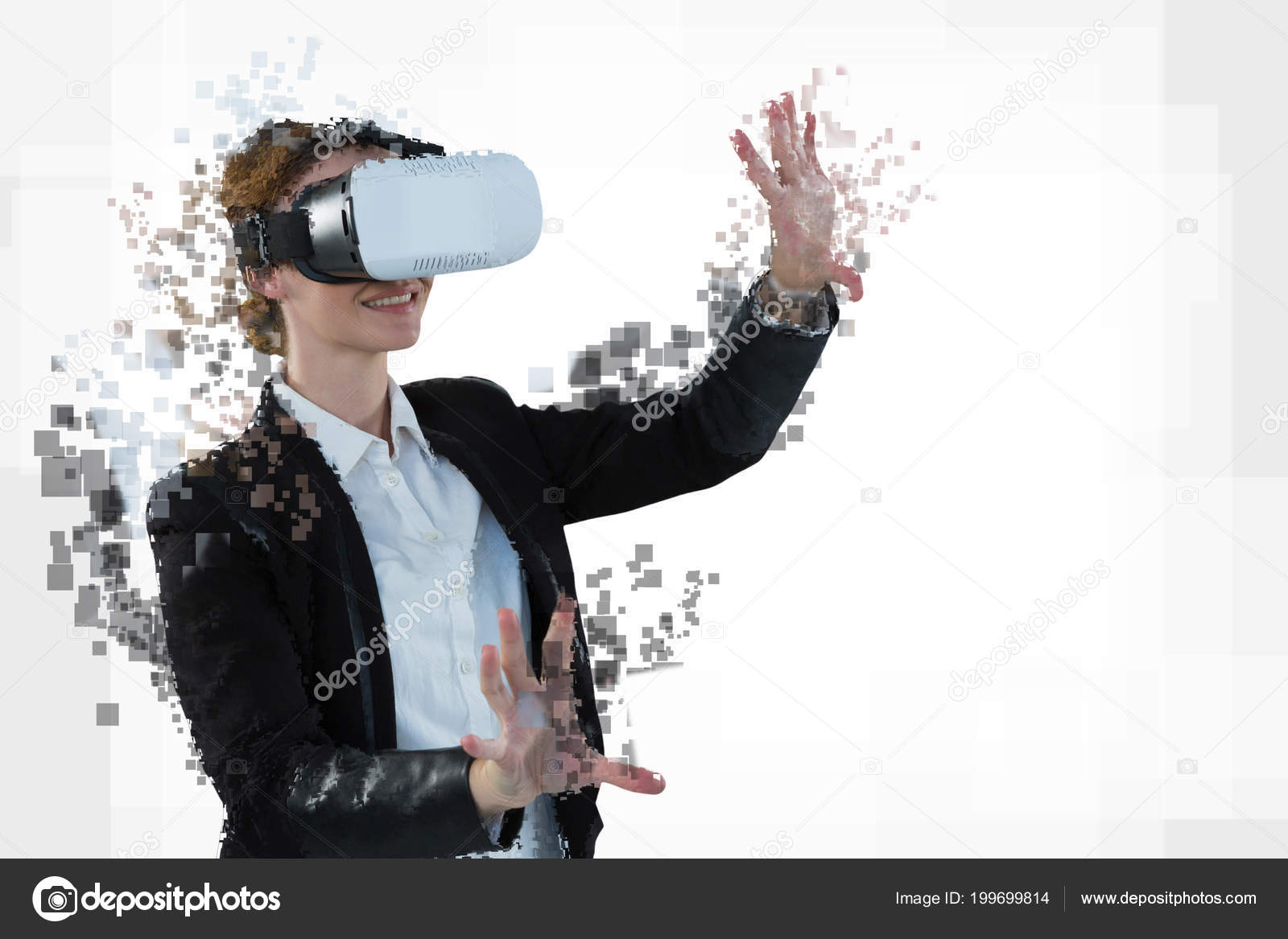 01cd8924988 Digital composite of woman with a virtual reality simulator– stock image