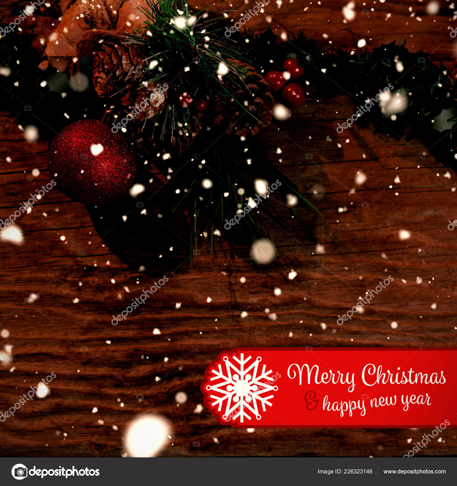 Banner Merry Christmas Copy Space Rustic Christmas Garland Stock Photo C Vectorfusionart 226323146