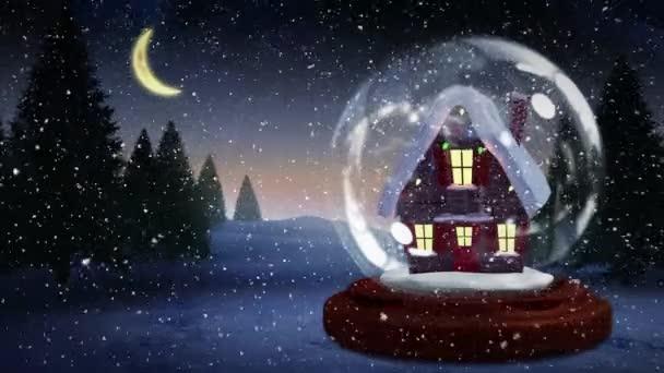 Weihnachten Animation.Süße Weihnachten Animation Beleuchtete Hütte Schnee Fällt über Die Verschneite Landschaft Und Bäume