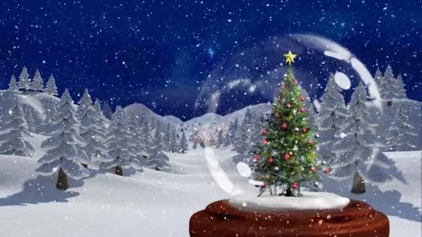Weihnachten Animation.Schöne Weihnachten Animation Der Weihnachtsbaum Im Magischen Wald In Der Nacht Schnee Fällt über Die Verschneite Landschaft