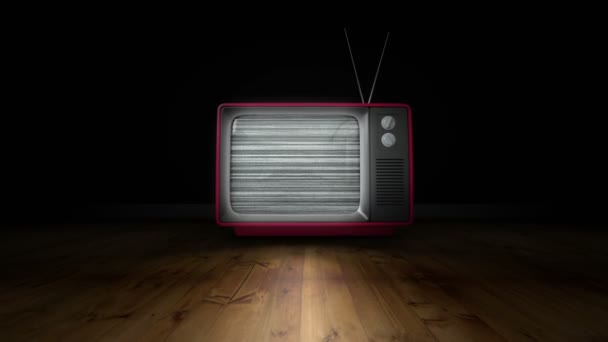 Zoom in animation of old TV with antenna turning on and no signal blur fuzz  in dark room