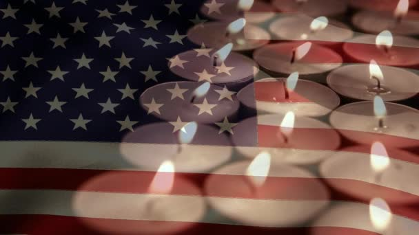 Burning Candles against american flag background