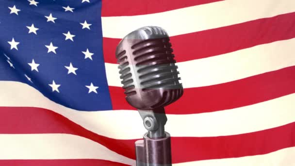 Animated Microphone against animated american flag waving background