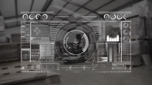 Digital grey dj equipment animated on a warehouse background