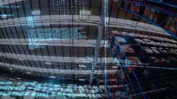 Digital animation of program codes moving in the screen and a background of  the inside of a warehouse
