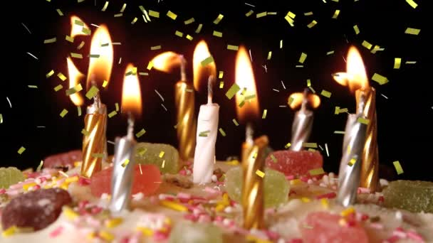 Superb Digital Animation Lighted Candles Birthday Cake While Gold Personalised Birthday Cards Veneteletsinfo