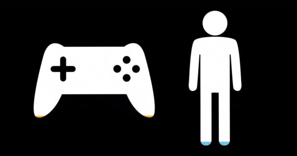 Animation Male Game Controller Shapes Filling Blue Yellow Black Background Video By C Vectorfusionart Stock Footage 289550052