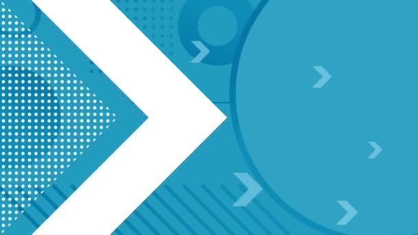 Animace velké bílé šipky vyplněné bílými tečkami a čtyřmi modrými šipkami, které se zadávají nalevo od obrazovky s modrými kruhy, čarami a tečkami, které zmizely na modrém pozadí