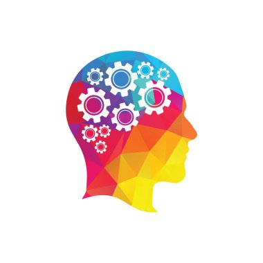 Technology Human Head Logo Icon Design. Digital human head brain shape with gears idea concept innovation genius.