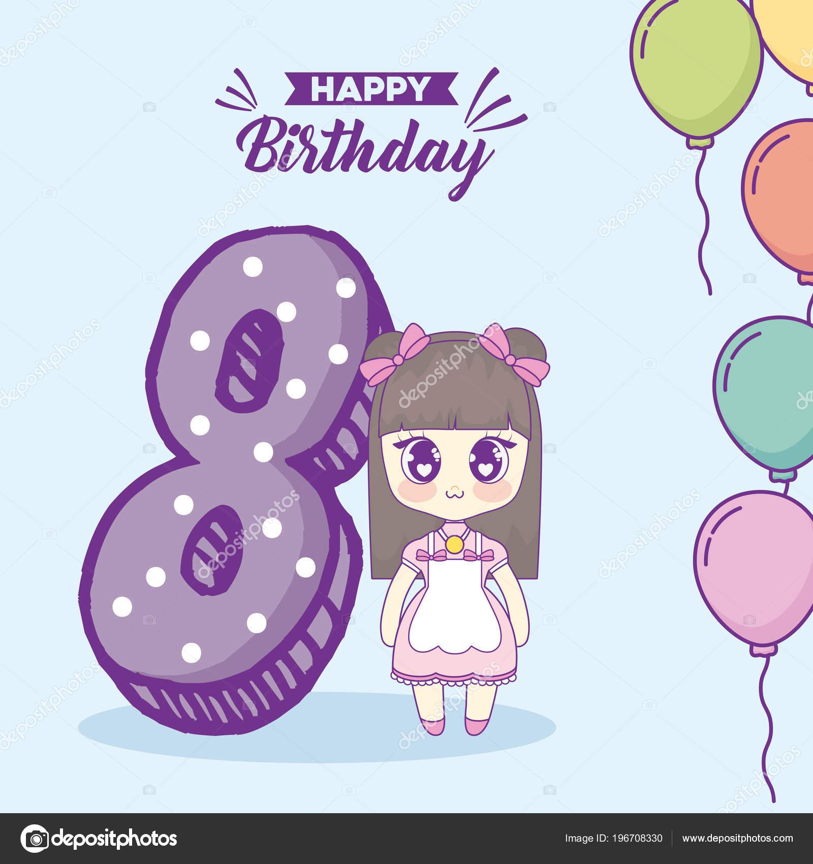 193918444 Diseño feliz cumpleaños chica Kawaii Anime y número 8 sobre fondo azul