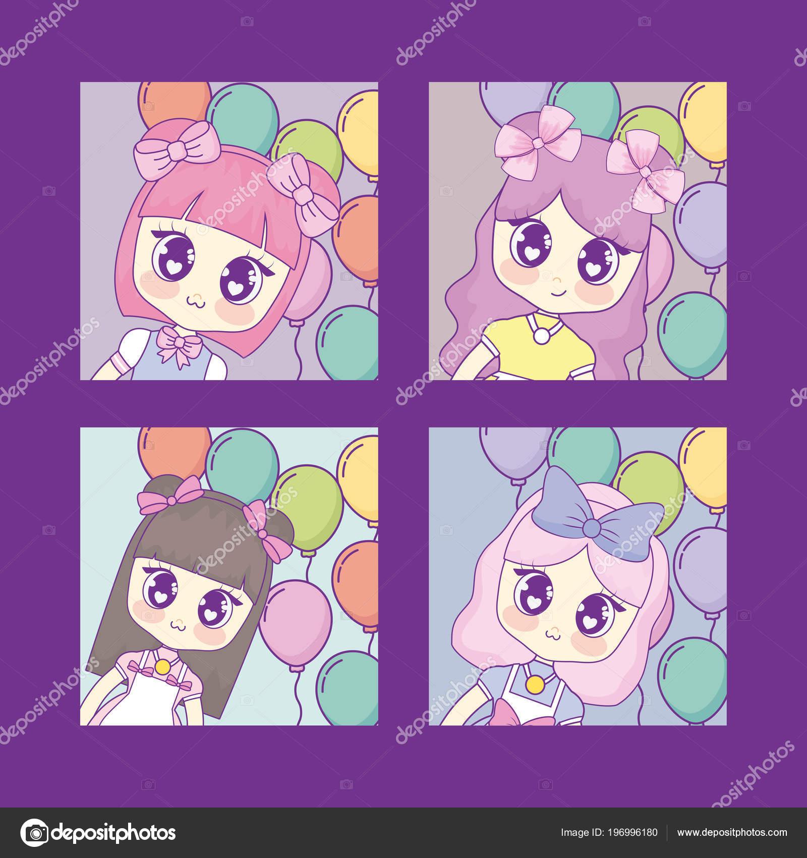 kawaii anime girl design — stock vector © djv #196996180