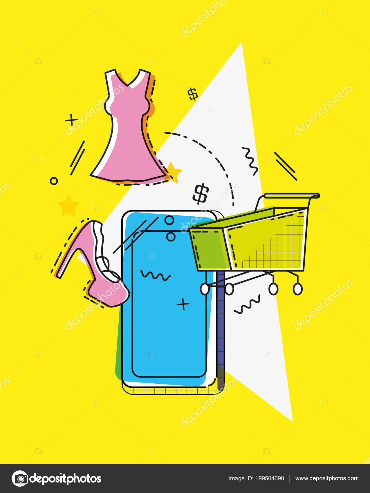 e86f64853b0 Online shopping with smartphone pop art style vector illustration design —  Vector by djv