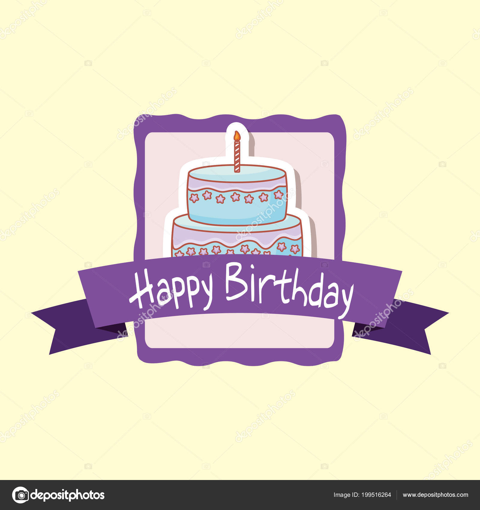 Happy Birthday Frame With Sweet Cake Stock Vector Djv 199516264