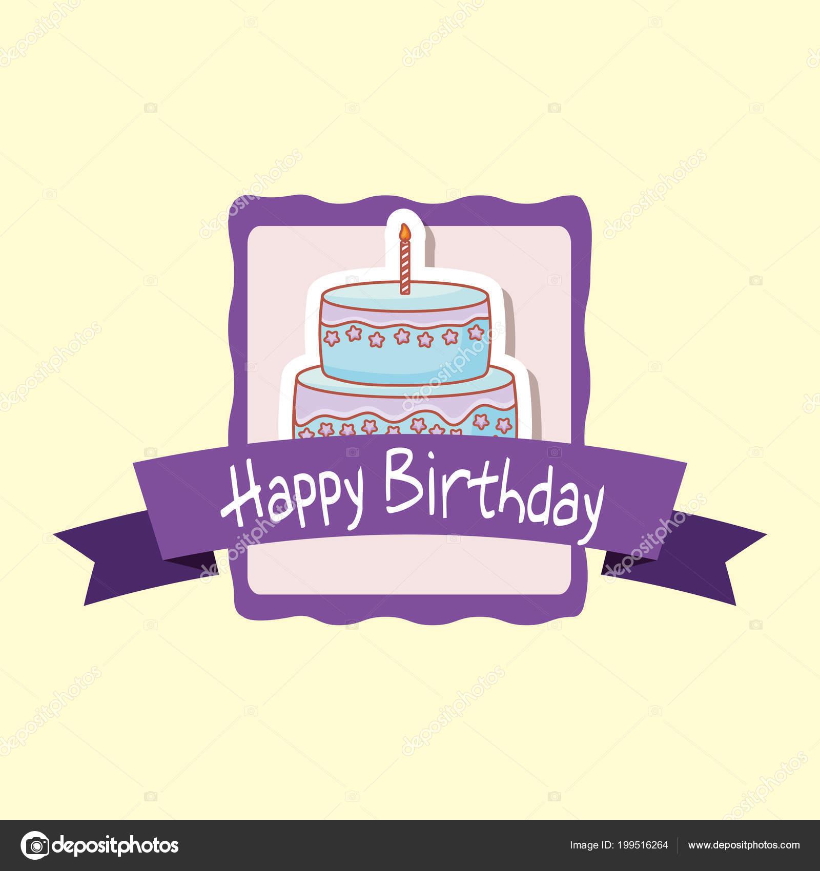 marco de feliz cumpleaños con tarta dulce — Archivo Imágenes ...