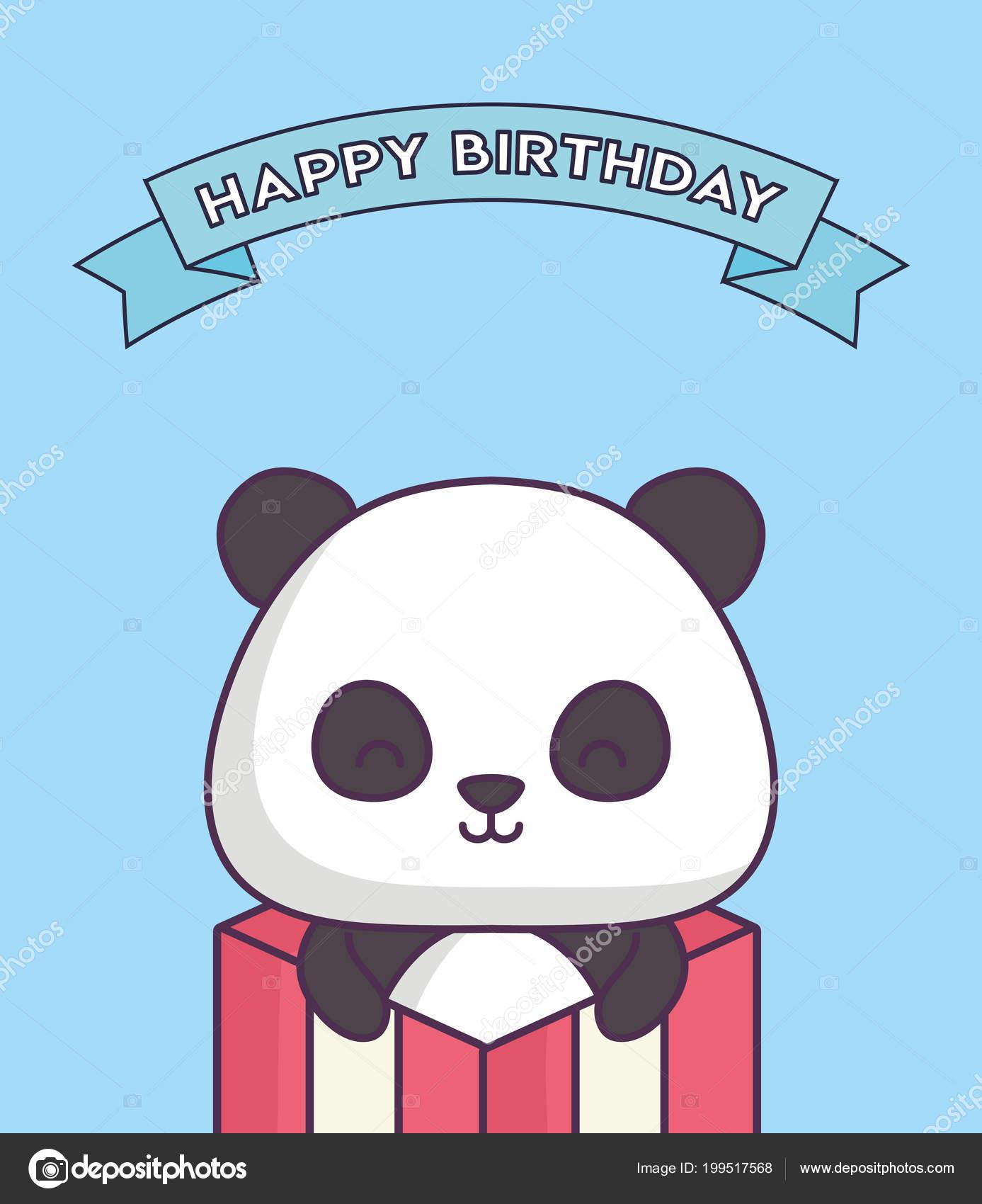 de9b9737741f58 niedlicher Panda Bär feiert Party Kawaii Charakter — Stockvektor ...
