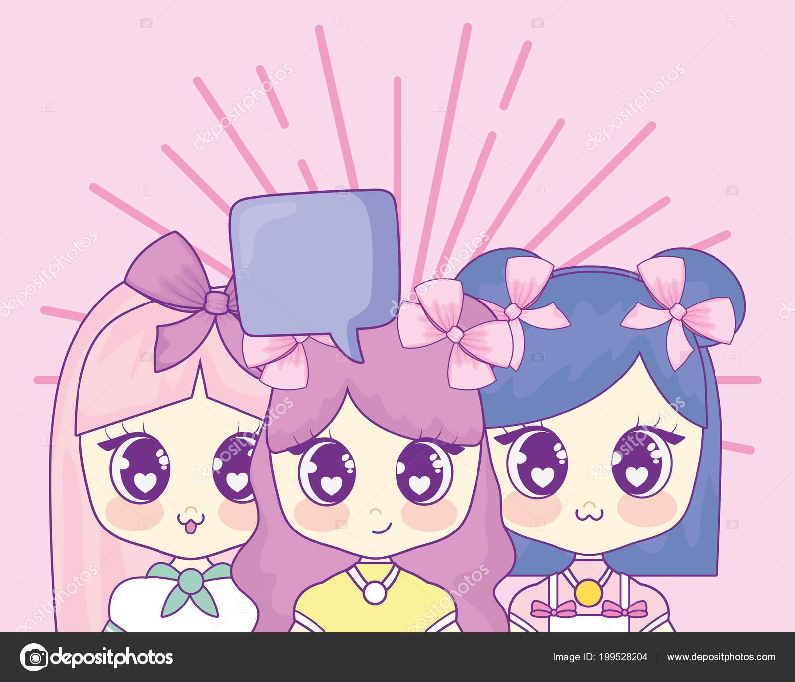 kawaii anime girl design — stock vector © djv #199528204