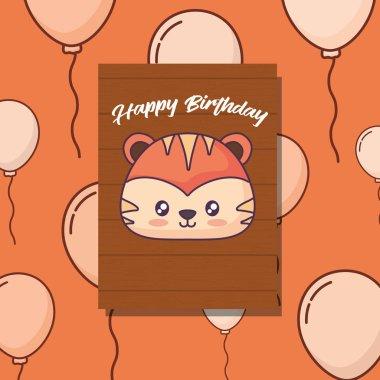 cute tiger clebrating party kawaii character