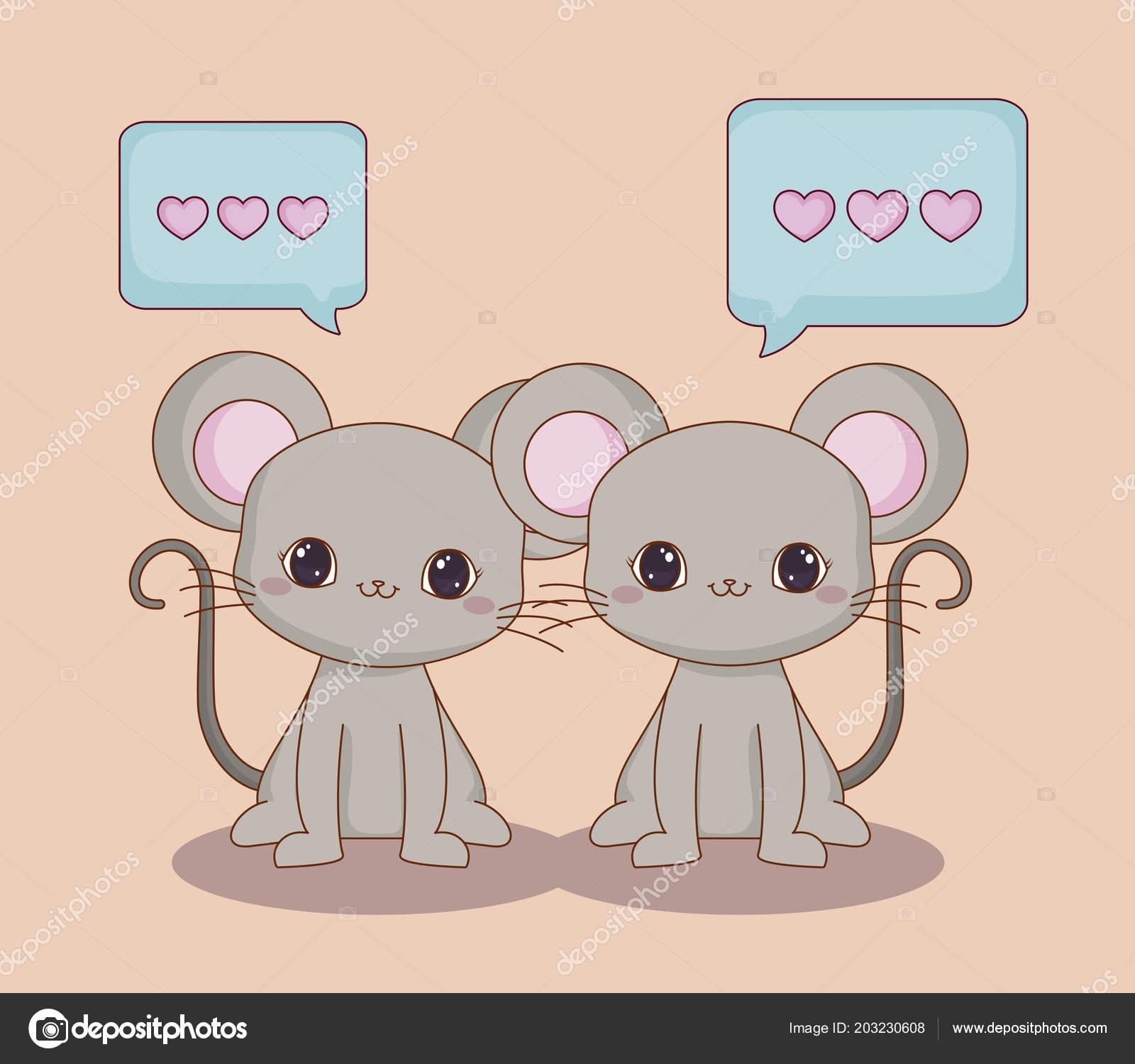 Kawaii Tiere Und Liebe Design Stockvektor Djv 203230608