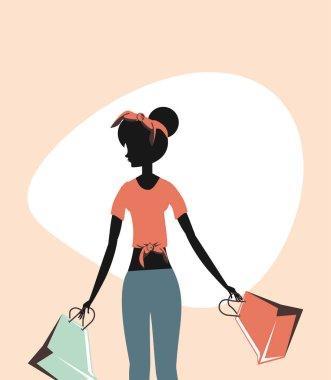 woman retro shopping