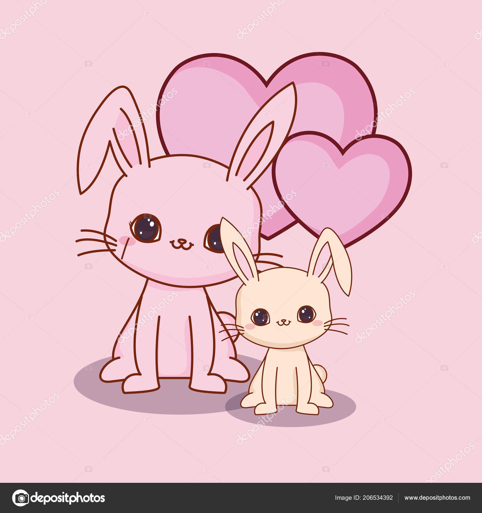 Image of: Etsy Kawaii Animals And Love Stock Vector Depositphotos Kawaii Animals And Love Stock Vector Djv 206534392