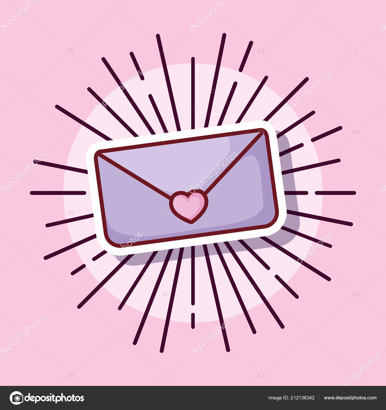 Estilo De Dibujos Animados De Mensajes De Correo Electrónico Amor