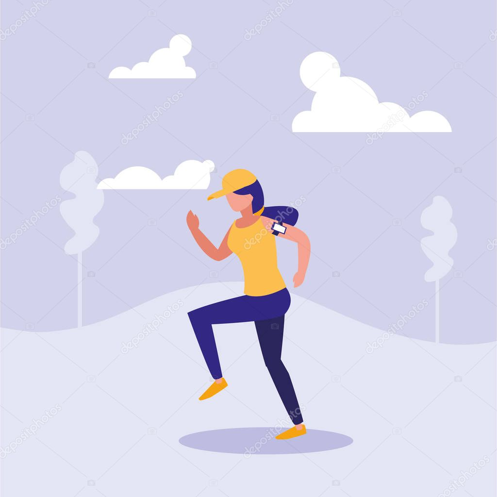 woman practicing running in landscape