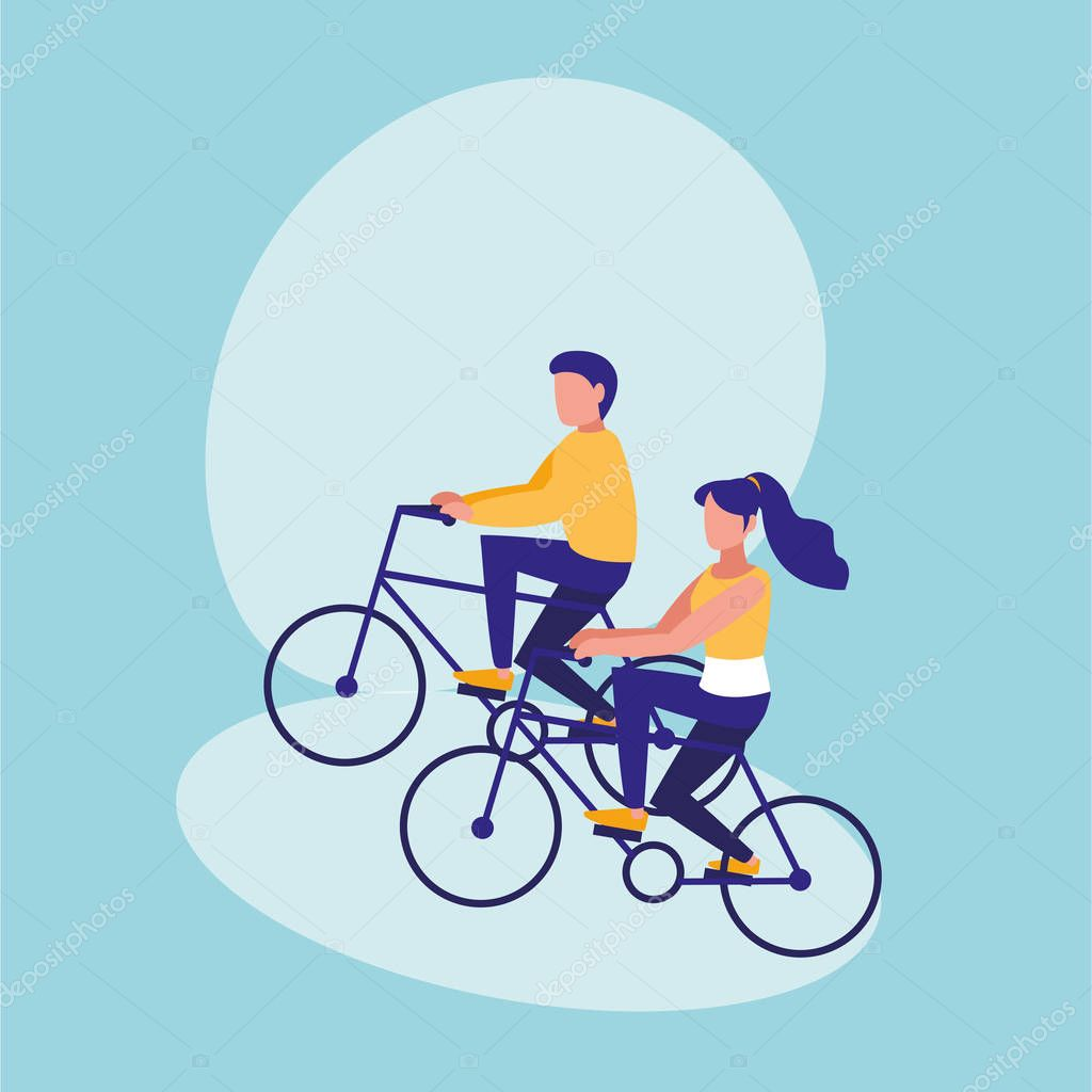 couple practicing cycling avatar character vector illustration design