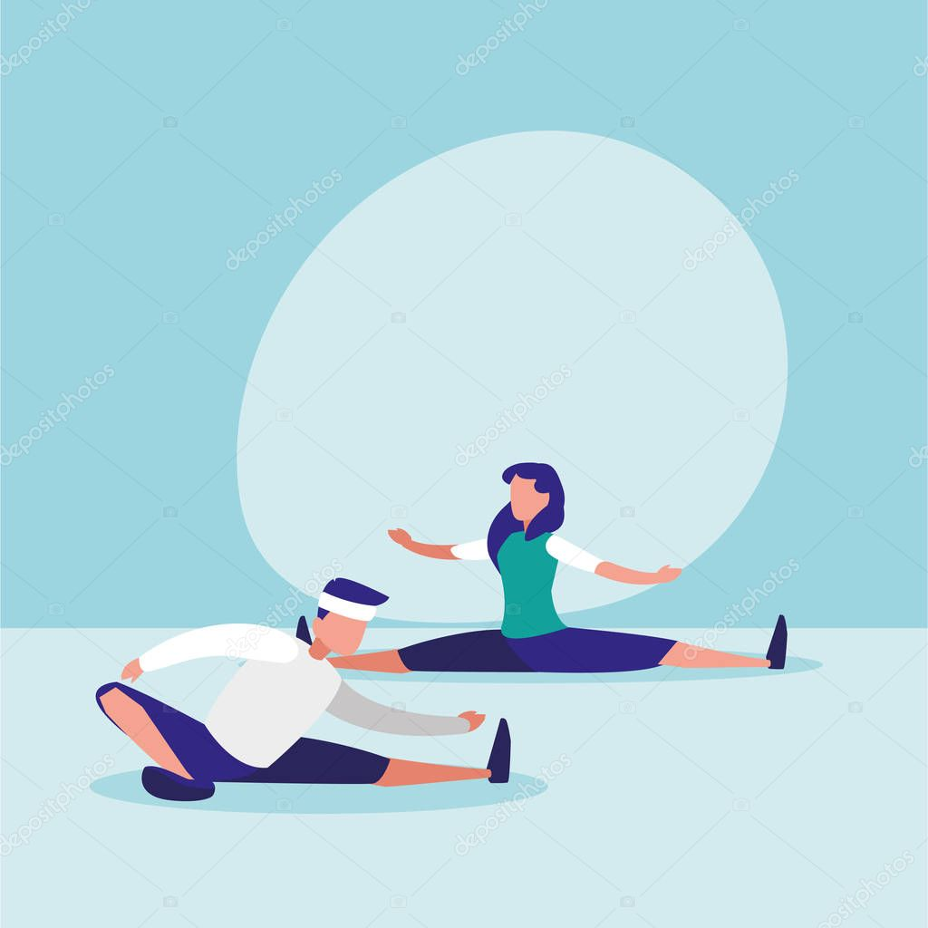 couple practicing stretching avatar character