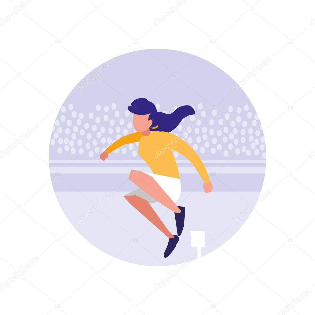 woman practicing running avatar character