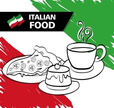 italian flag with delicious food menu