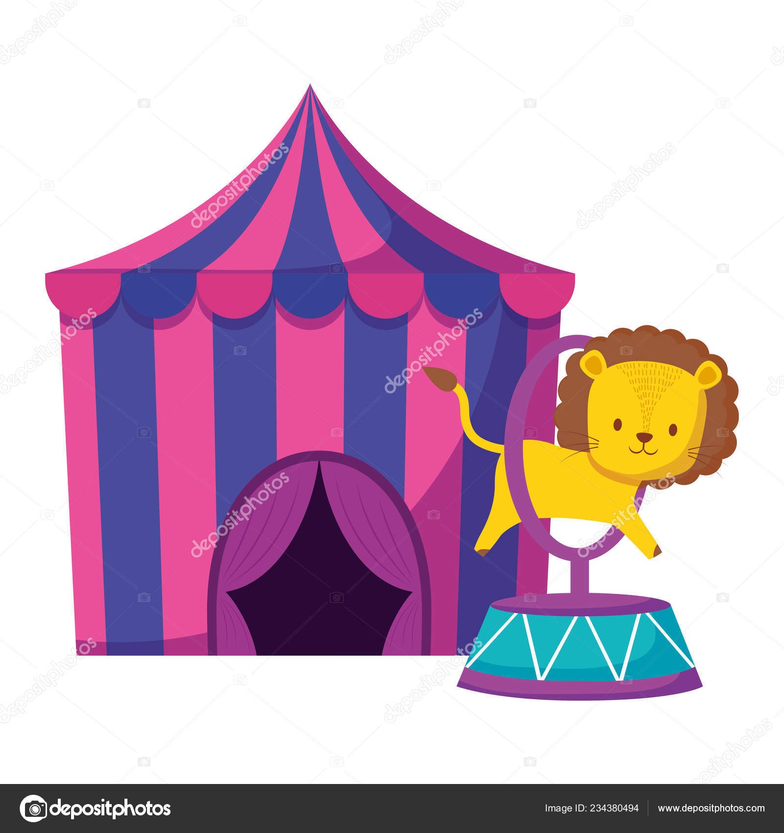 Cute circus lion jumping ring in tent vector illustration design \u2014 Vector by ...  sc 1 st  Depositphotos & cute circus lion jumping ring in tent \u2014 Stock Vector © djv #234380494