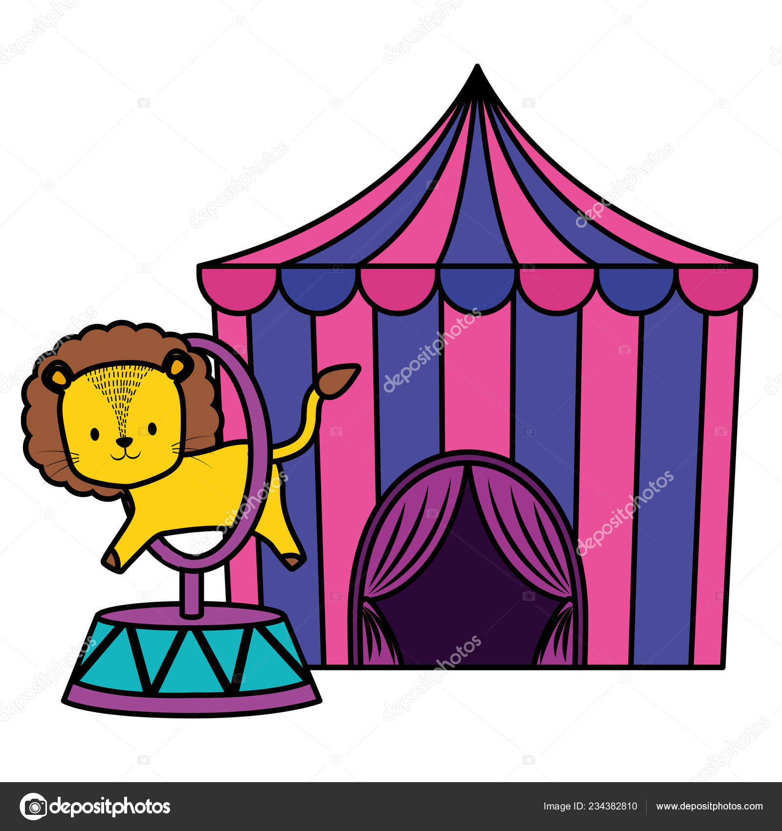 Cute circus lion jumping ring in tent vector illustration design \u2014 Vector by ...  sc 1 st  Depositphotos & cute circus lion jumping ring in tent \u2014 Stock Vector © djv #234382810