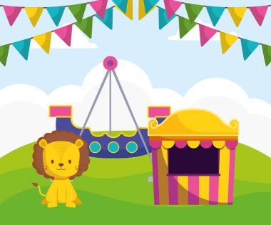 cute circus lion with kiosk and boat