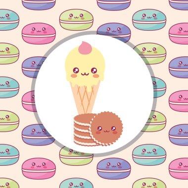 cute ice cream with cookies kawaii characters