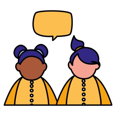beautiful little girls interracial couple with speech bubble