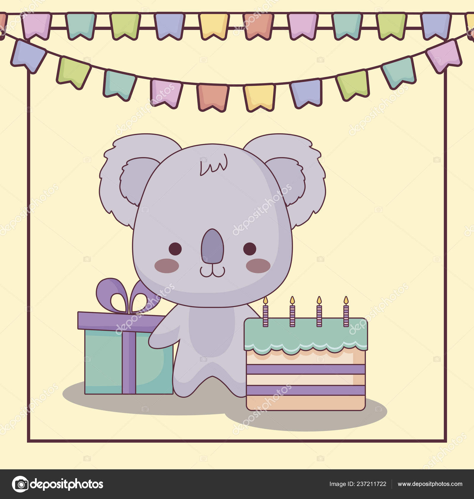 Cute Koala Happy Birthday Card With Cake And Icons Stock Vector