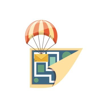 parachute flying with envelope delivery service