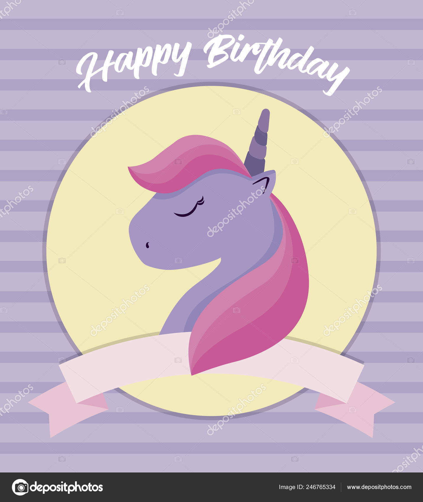 Happy Birthday Card With Cute Unicorn Head Stock Vector C Djv