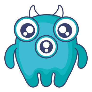crazy monster with three eyes comic character