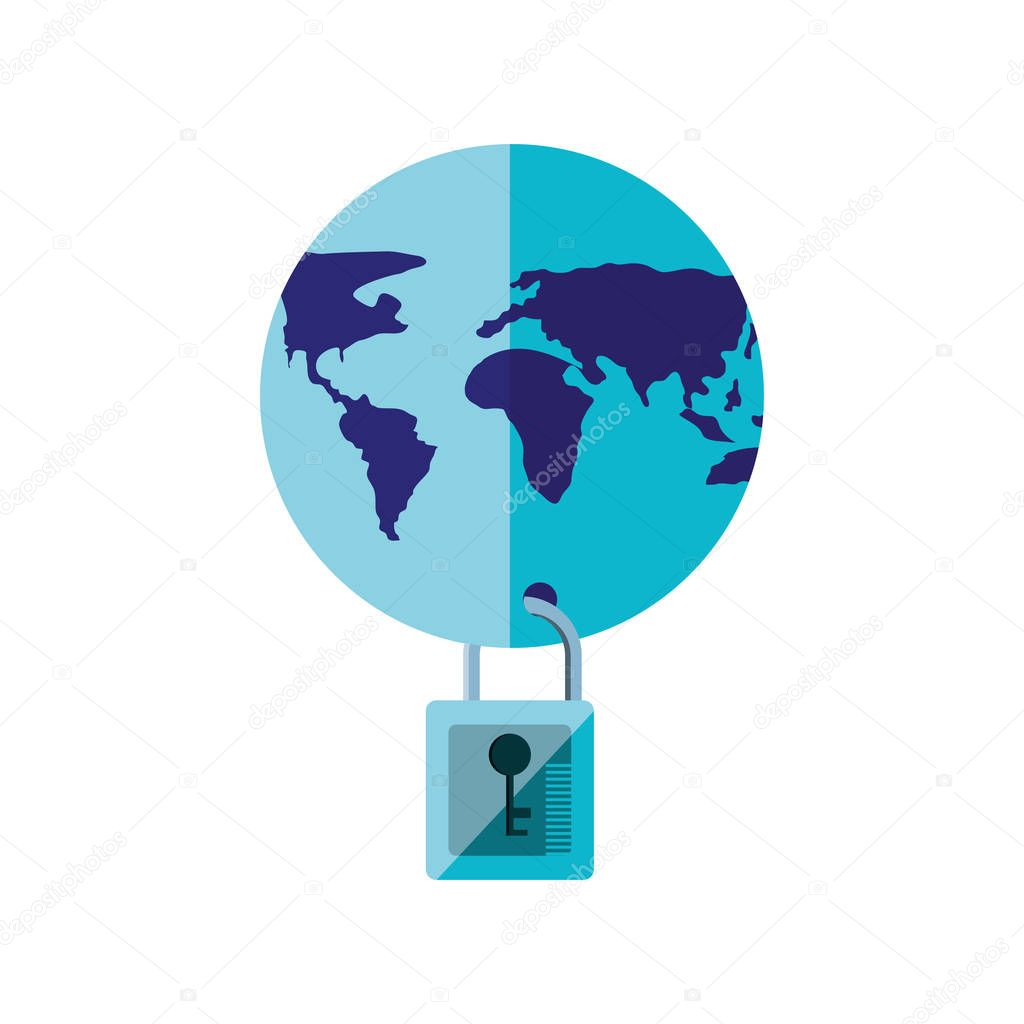 world planet earth with padlock