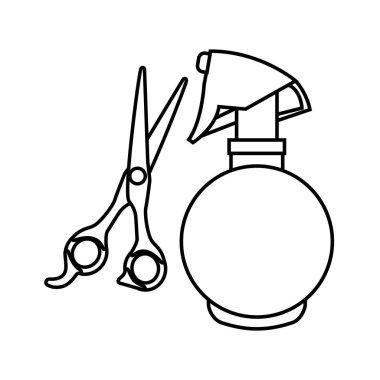 barber shop scissors with splash bottle