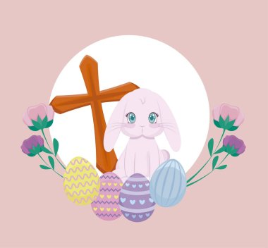 cute rabbit with eggs of easter and cross catholic