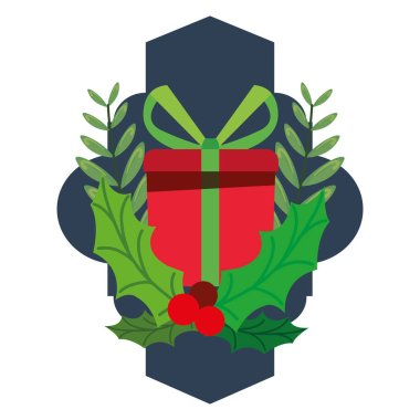 christmas gift box holly berry