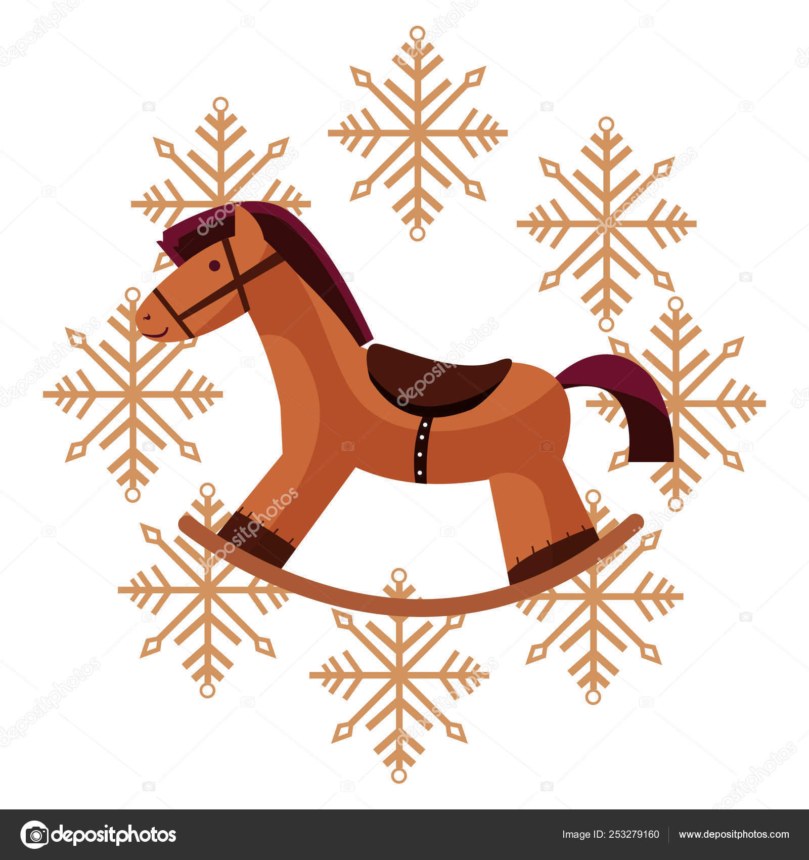 Christmas Rocking Horse Snowflakes Decoration Stock Vector C Djv 253279160