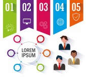 businessmen with infographic and business icons