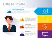 businesman with infographic and business icons
