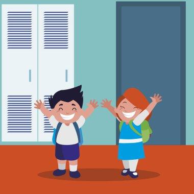 happy little school kids in the school corridor