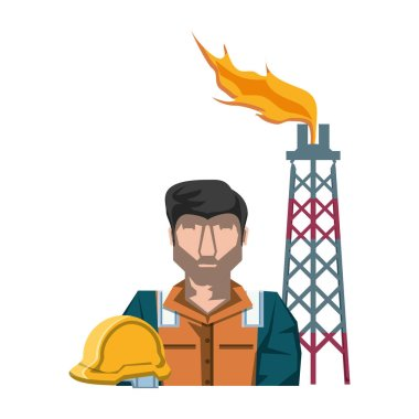 tower of plant oil extraction with worker character