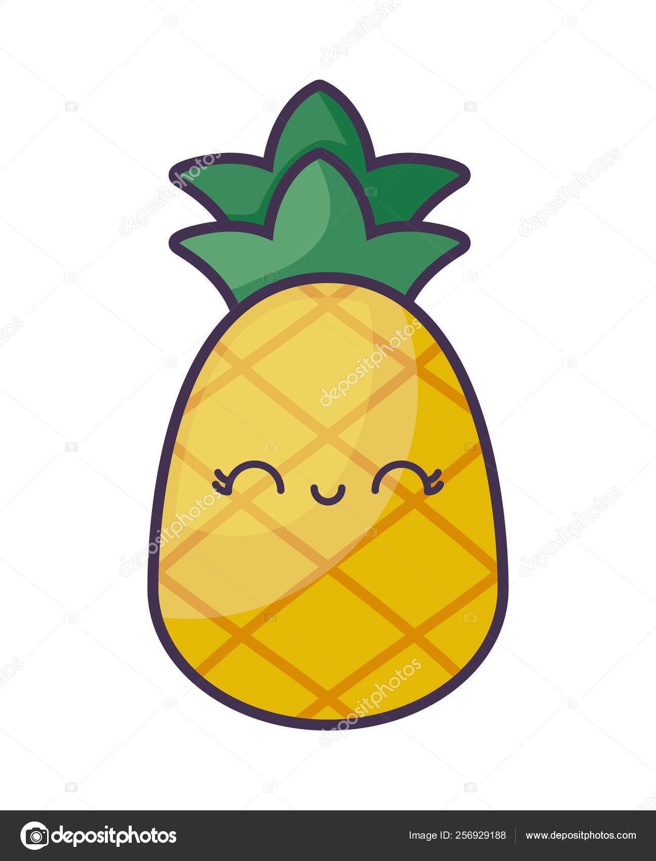 Pineapple Fruit Kawaii Character Stock Vector Djv 256929188