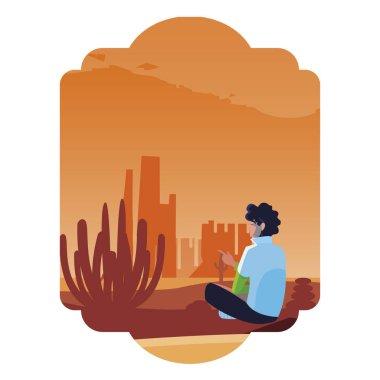 man contemplating horizon in the desert scene